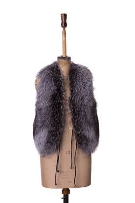 vintage Grey fur fox gilet