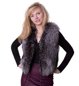 woman wearing a Grey fur fox gilet