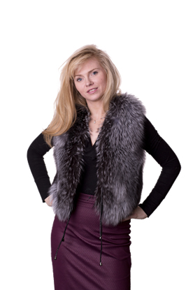 woman wearing a Grey fur fox gilet