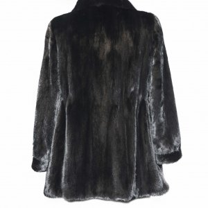 beautiful black fur jacket back side
