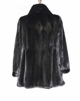 beautiful black fur jacket back side