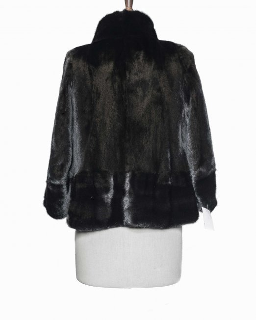 New black fur jacket back side