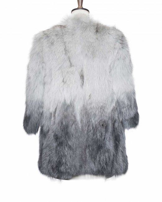 vintage light grey fur jacket back side