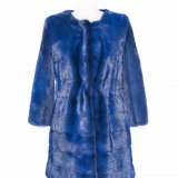 blue fur jacket front side