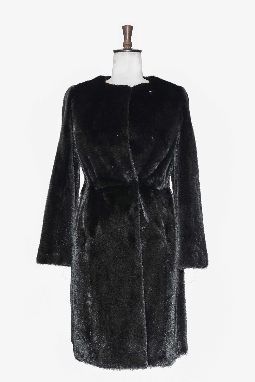 Collarless Mink coat