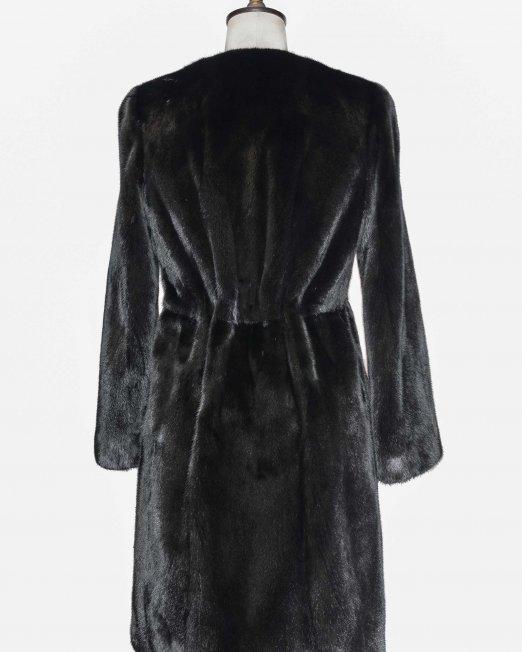 long black fur jacket backside