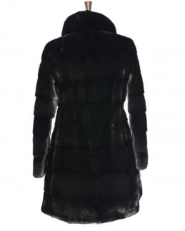 dark black fur jacket backside