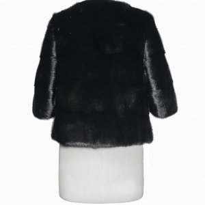 Black fur coat backside