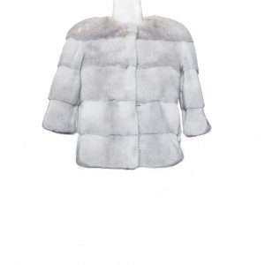 light grey fur coat front side