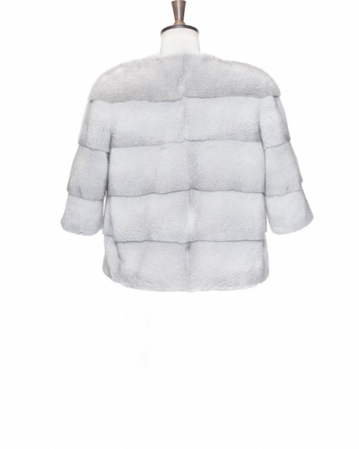 light grey fur coat backside