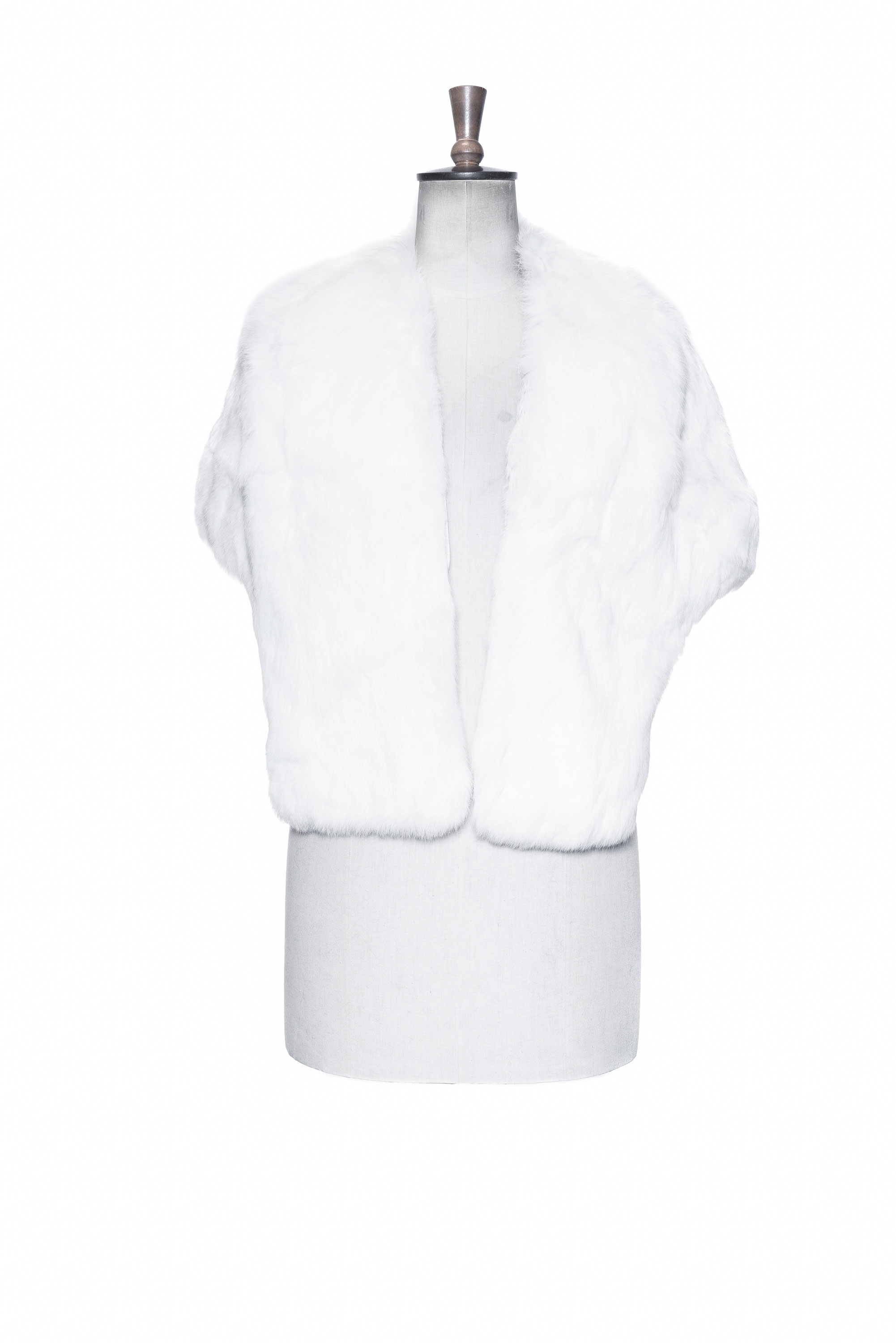 white fur throw front side