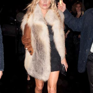 fur gilet on a night out