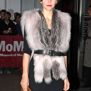 fur gilet with belt at the waist
