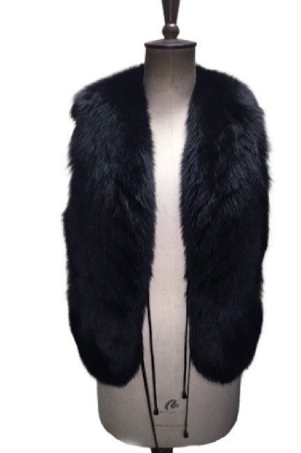 beautiful black fur gilet front side
