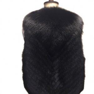 beautiful black fur gilet back side
