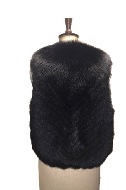 beautiful black fur gilet back side