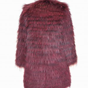 purple fur coat backside