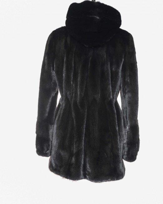 Black Mink Coat with Hood